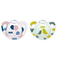 NUK биберон залъгалка силикон 6-18 мес. 2бр ADORE + кутийка за съхранение и стерилизация в микровълнова