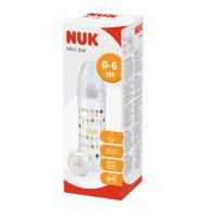 NUK Сет мини - New Classic шише 250мл със силиконов биберон 0-6м. и силиконов биберон 6-18м. + биберон залъгалка Genius 0-6м.