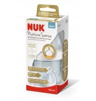 NUK NATURE SENSE шише стъклено 120мл. силиконов биберон 0-6м S /бяло/