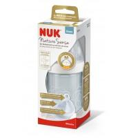 NUK NATURE SENSE шише стъклено 240мл. силиконов биберон 0-6м M /бяло/
